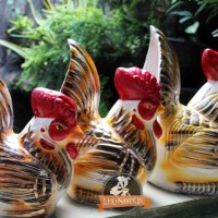 Celengan Gerabah Trio Ayam Tanah Liat Bakar