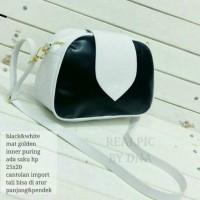 tas fashion wanita murah slingbag hitam putih grosir tas selempang
