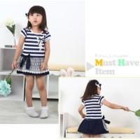 Baju Anak - Blue Stripped Dress (GI-733)