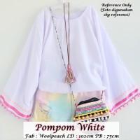 Pompom White | Atasan Muslim | Blouse Muslim