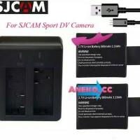 Dual Desktop Charger + 2 Baterai Sport Cam Action Camera For SJ4000
