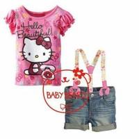 Setelan Girl Jeans Tee Hello Kitty dan Suspender / Baju Anak Import