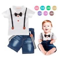 Setelan Baju Anak Cowok Suspender 3in1
