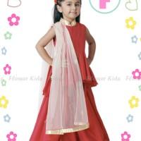 sari india murah dress red ruffle baju nuslim anak impor
