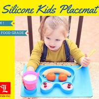 Piring Makan Anak Silikon Bunny - Food Grade - High Quality dan Aman - Biru Muda