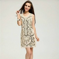 Embroidery Elegant Sequin Mini Crochet Party Dress IMPORT