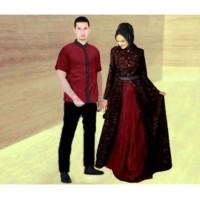 8961 Baju couple pesta CP hijab dress brukat kemeja maroon pashmina