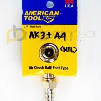 Air Chuck Ball Foot Type 1/4 Hose Barb, Alat Pompa AMERICAN TOOL