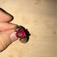 batu cincin ruby jadoel peninggalan tahun 1984 natural merah siam