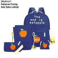 tas sekolah wanita murah backpack apel 4in1 grosir tas ransel