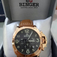Jam Tangan Binger Rose Gold & Black PVD