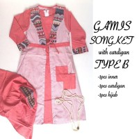 Gamis Songket with Cardigan (model indian)