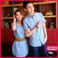 Bertu Dress Couple Murah Kemeja Denim Light Blue Terlaris