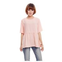 Atasan Peach Pink Polos Basic Baju Wanita Ruffle Lengan Pendek