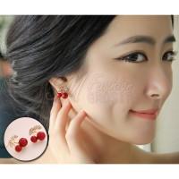 Anting Tusuk Import Korea Red Cherry / Cherry Warna Merah (Earring)