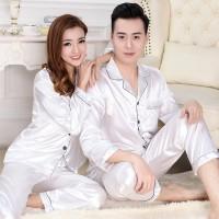 Piyama couple satin impor (putih&hijau) baju tidur couple PYS-3
