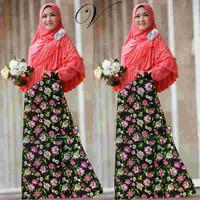 E0 pakaian muslim wanita gamis dress dengan bergo jersey (amarante ber