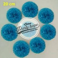 Pompom Kertas Biru Tua / Pompom Kertas 20 Cm / Tissue Paper / Pompom