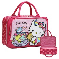 New Travel Bag Anak DUA Kantung Hello Kitty Bahan Kain Sponge Anti Air