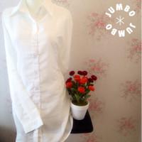 Kemeja blus wanita putih polos zara lembut body panjang Jumbo