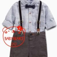 setelan anak murah / kemeja + suspender + pant