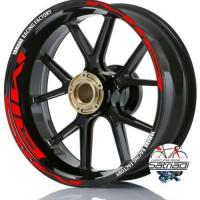 Stiker Velg Motor Sticker Mio Strip Yamaha Racing Factory Merah