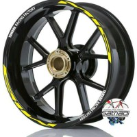 Stiker Velg Motor Sticker Mio Strip Only Yamaha Racing Factory Kuning