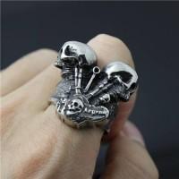 Skull ring / cincin tengkorak import double engine bikers