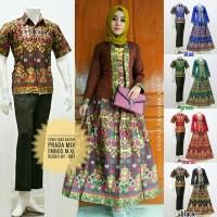 Baju Batik Couple Cewek Cowok Kemeja Lengan Pendek Prada Mix Embose