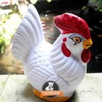 Celengan Gerabah Ayam Putih Polos Tanah Liat Bakar 19cm