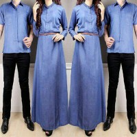 Cp couple Lola katun denim dress kemeja free belt MURAH PROMO