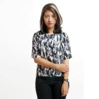 Atasan Kaos Baju Wanita Motif Camo Rayon Hitam Putih Abu-abu