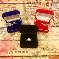 Black n Red Velvet Ring Box | Kotak Cincin Bludru Merah Hitam