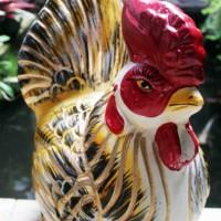 Celengan Gerabah Ayam Emas 48x33cm dari Tanah Liat Bakar
