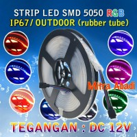 Flexible LED Strip RGB SMD 5050 DC12V IP67/IP68 + Rubber Tube