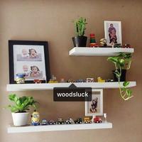rak dinding floating shelf kayu solid 40, 60, 80 (3pcs)