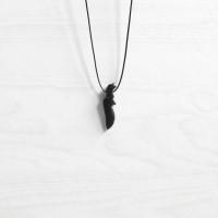 Boho Black Jade Kujang Necklace Kalung Batu Natural