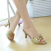 Sandal Kitten Heels Pita Glitter Gold NFZ-002