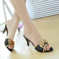 Sandal Kitten Heels Glitter Hitam NFZ-002