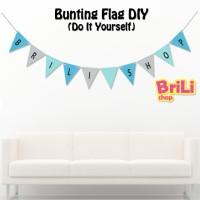 Bunting Flag DIY Biru Silver   Banner Flag DIY Custom