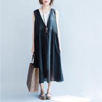 Classical V Neck Black White Vest Dress