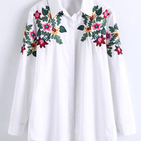 Trendy Long SLeeve Embroidered Floral Blouse in Vertical Striped