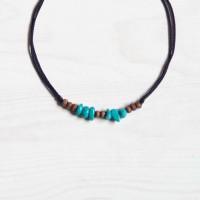 Boho Turquoise Choker Necklace Kalung Pria Batu Natural