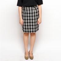 Rok Kantor Sepan Pencil Mini Midi Skirt Tweed Wool Hitam Putih