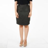 Rok Kantor Kerja Sepan Span Mini Midi Skirt Tweed Wool Hijau Tua