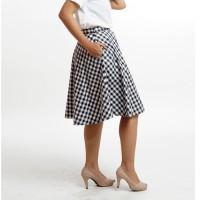 Rok Kerja Flared Mini Midi Skirt Hitam Putih Kotak-Kotak Gingham