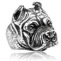 anjing bulldog stainless steel figure skull ring / cincin tengkorak