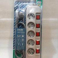 Stop kontak uticon 6 lubang / ST 1682 SW / stop kontak dengan switch