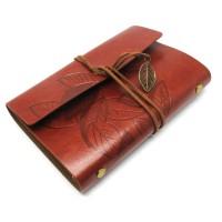 Buku Catatan Binder Kulit Retro Leaf Kertas A6 / Buku Agenda Klasik