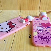 soft case casing iphone 6 6s 7 plus cute hello kitty murah rubber pink